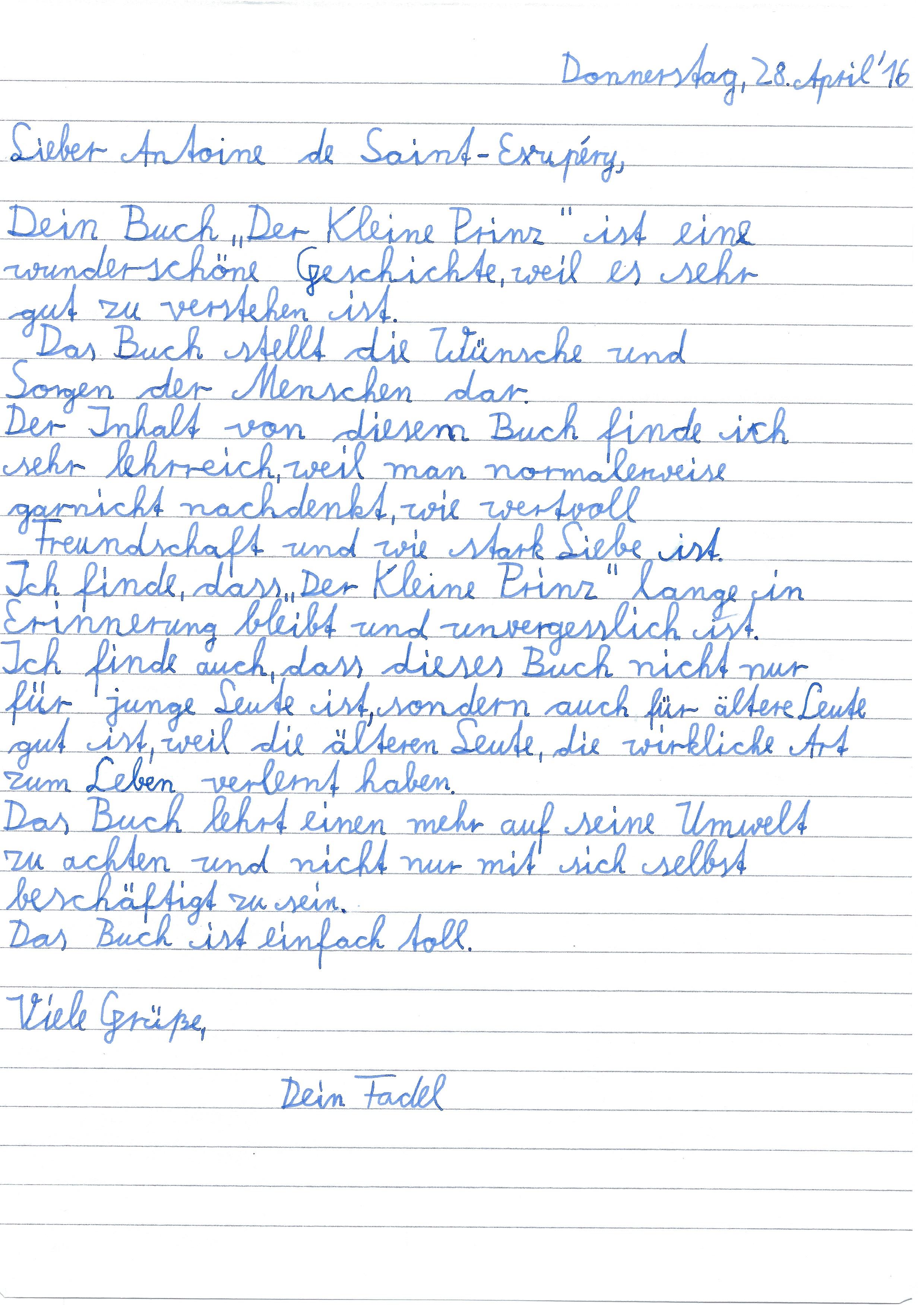Einstieg Briefe Schreiben Grundschule : Die klasse a und der kleine prinz richard grundschule